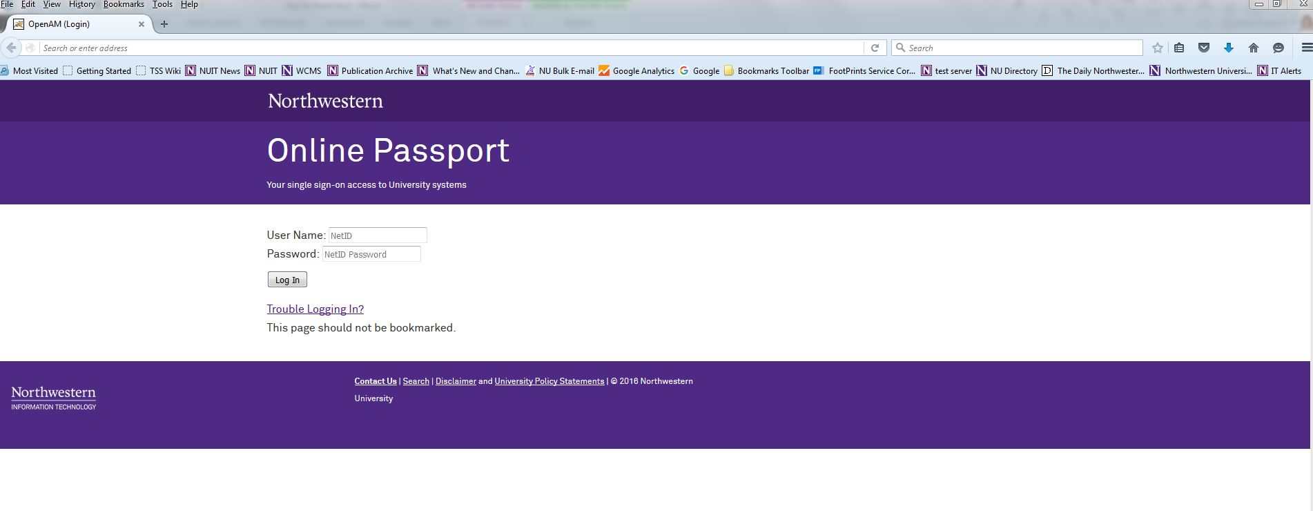 This is a screen shot of the new Online Passport log in page.