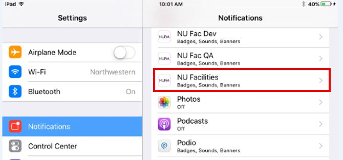 Settings: Notifications Menu, NU Facilities highlighted
