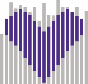 image of data lines that include a heart shape. this is the represented logo for Love Data Week.