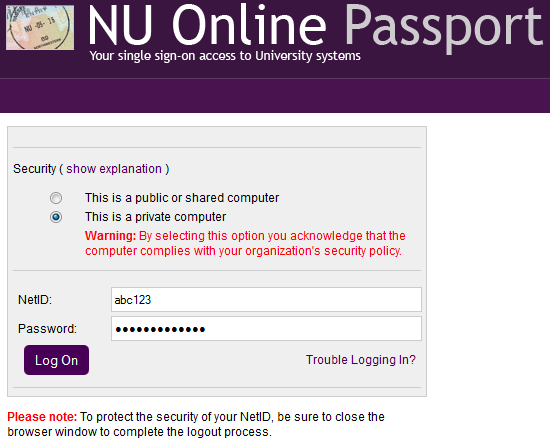 The OWA login screen. Under security, the radio button should be selected depending on whether or not your work computer is being used. In the NetID field, enter your NetID, and in the password field, enter your NetID password.