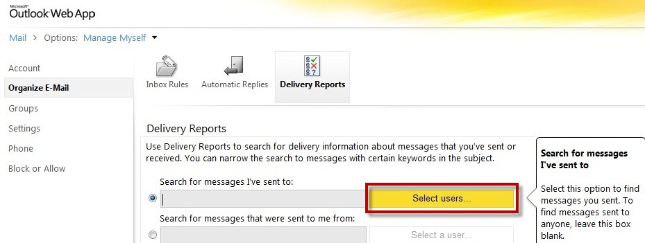 The Delivery Reports screen after selecting the appropriate radio button. The yellow Select Users... button should be selected.