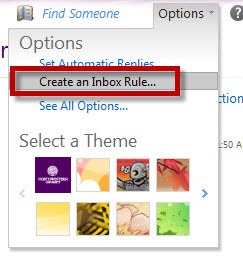 The Create an Inbox Rule option in the Options dropdown menu.