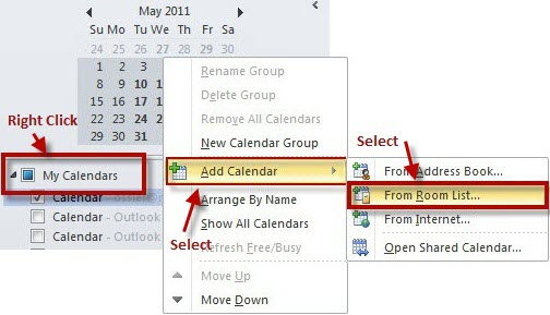 Collaboration Services: Add Resource Calendars in Outlook