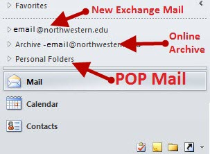 List of e-mail accounts and folders on the Outlook 2010 Navigation pane.