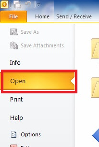 The Open option of the File tab.