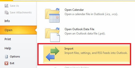The Open menu of the File tab. The Import option is selected.