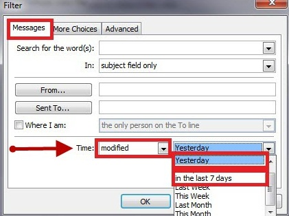 The Messages tab of the Filter window. In the last section, from the dropdown menu next to Time, modified should be selected. Then, from the adjacent dropdown menu, the appropriate option should be selected corresponding to the amount of POP mail wished to be migrated. If you only want to migrate the folder structure, select Yesterday.