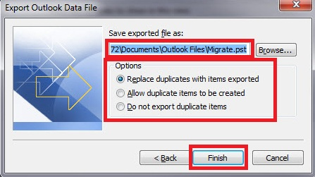 Export Outlook Data File save window. The file name should be changed from Backup.pst to Migrate.pst, and the location of the exported file should be noted. Then, from the Options, the corresponding radio button should be chosen regarding how duplicates should be handled.