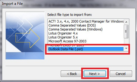 Import a File window of the Wizard. From the list, Outlook Data File (.pst) should be chosen.