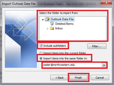 Import Outlook Data File select folder window of the wizard. The folders to import from should show up in the box, and the box stating Include Subfolders should be checked. Then, at the bottom, from the radio buttons, select Import items into the same folder in, and then from the dropdown menu select your Exchange account.