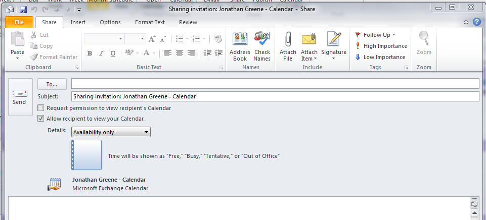 Collaboration Services Share Calendar in Outlook 2010 Information
