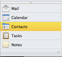 Outlook Navigation Pane. The Contacts option is selected.