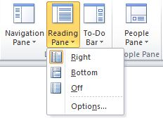 The Reading Pane submenu of the View menu. The Right, Bottom, and Off options are present, indicating the desired position of the Reading Pane. The desired option should be selected.