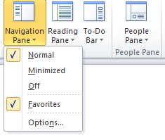 The Navigation Pane submenu of the View menu. The options Normal, Minimized, and Off are visible, indicating the style of the Navigation Pane. The desired option should be selected.