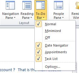 The To-Do Bar submenu of the View menu. The Normal, Minimized, and Off options appear, indicating the visual appearance of the To-Do Bar. The desired option should be selected.