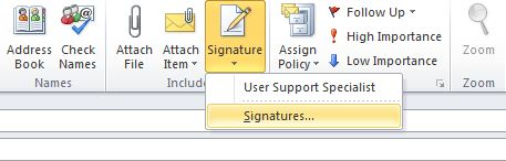 The Signature menu of the New E-mail menu. The Signatures... option should be selected.