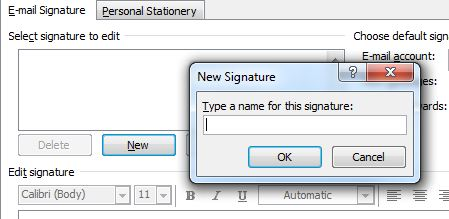 The New Signature window. An appropriate name for the signature should be entered in the field.