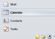 Outlook Navigation Pane. The Calendar option is selected.