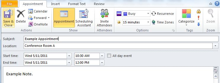 The Appointment window for Outlook. An appropriate subject and location should be entered into the Subject and Location fields, and the appropriate start and end times and dates should be set in the Start time and End time fields. In the Ribbon, the Reminder field can be set so that a reminder will be scheduled from 5 minutes to 2 weeks before the appointment.