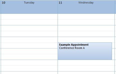 The newly-created appointment in the Outlook calendar.