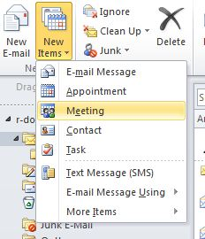 New Items menu of the Home tab in Outlook. The Meeting option is selected.