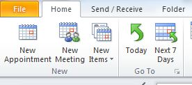 The Home tab of Outlook. The New Meeting option should be selected.