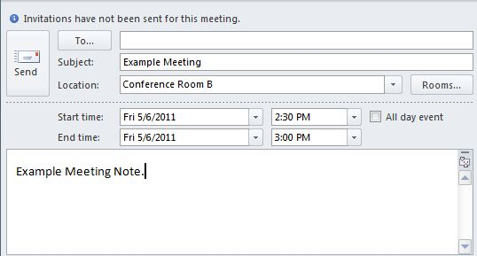 New Meeting window of Outlook. In the Subject and Location fields, an appropriate subject and location should be entered. In the Start time and End time fields, an appropriate time and date should be set for each from the dropdown menus. A note about the meeting should be entered in the large text box.