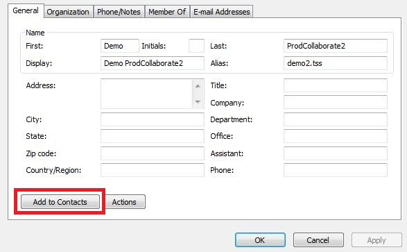 9cce9fbea003 The contact information window for the selected person. The Add to Contacts  button at the