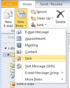 New Items menu of the Home tab in Outlook. The Task option is selected.