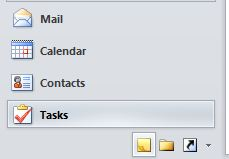 Outlook Navigation Pane. The Tasks option is selected.