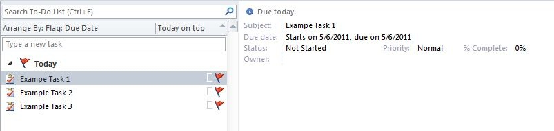Task details as shown in the Reading Pane.