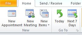 The Home tab for Outlook Calendar. The New Meeting option should be selected.