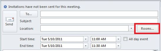 New Meeting window of Outlook. The Rooms... button should be selected.