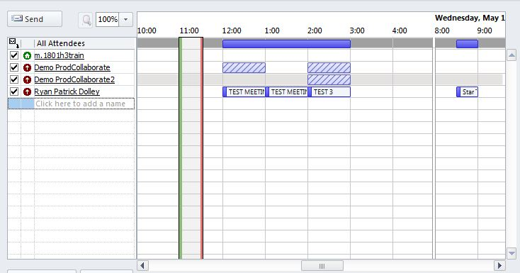 Scheduling Assistant window. A number of colored bars appear in the window. Purple Bars indicate busy, Purple Bars with slash marks indicate Tentative, Dark Purple Bar indicates out of office, White Bar with slash marks is No Info, and Grey Bar indicates Outside of working hours.
