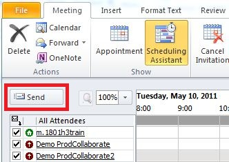 The Send button of the Schedule Meeting window.