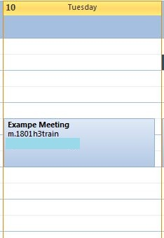 The newly-created meeting in the Outlook calendar.