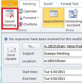 Meeting tab of Outlook. The Cancel Meeting option is selected.
