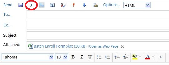 The Paper Clip icon at the top which attaches a file. After attaching a file, the file will show up in the Attached field below the Subject line.