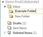 The newly-created folder under the Inbox, which should be renamed appropriately.