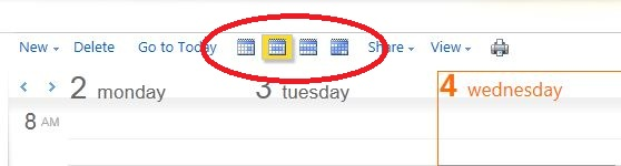 The Calendar View options: Day View, Work Week View, Week View, and Month View.