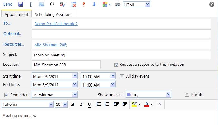 The New Meeting Request window. In the To field, the addresses of the invitees should be entered. After clicking the Resources field, a resource to reserve will appear in the Resources field. Then the Subject, Location, Start time, and End time should all be set appropriately. A reminder may be set before the appointment, and a meeting description should be entered into the large text box.