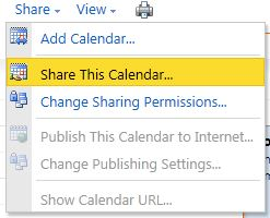 The Share This Calendar... option under the Share button.