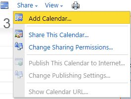 The Add Calendar... option under the Share button in the toolbar.