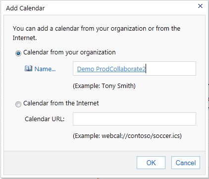 The Add Calendar window. The radio button from Calendar from your organization should be selected, and in the Name field, the desired user should be selected.