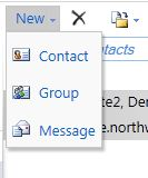 The Contact and Group options, located under the New button in the contact toolbar.
