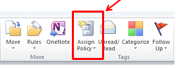 Screenshot of the Microsoft Outlook Home tab ribbon. The Assign Policy menu is in the Tags section.