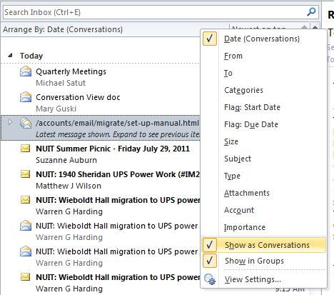Collaboration Services: Turning Off Conversation View