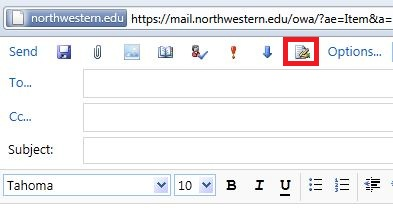 The Insert Signature button on the Compose E-mail window. The button located to the right of the blue arrow, indicated by a piece of paper and a hand holding a pen.