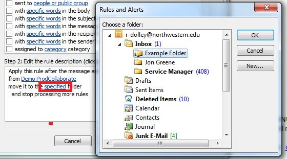 The Rules and Alerts window brought up after clicking the specified link in the Step 2 box. The folder to where the messages should be moved should be selected.