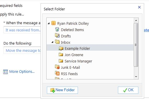The Select Folder window for the Move the message to folder... action. The desired folder to move the messages to should be selected.